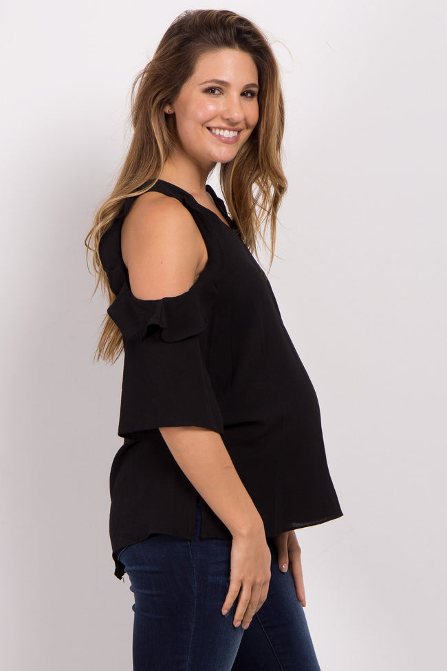 Black Cold Shoulder Ruffled Sleeve Maternity Top
