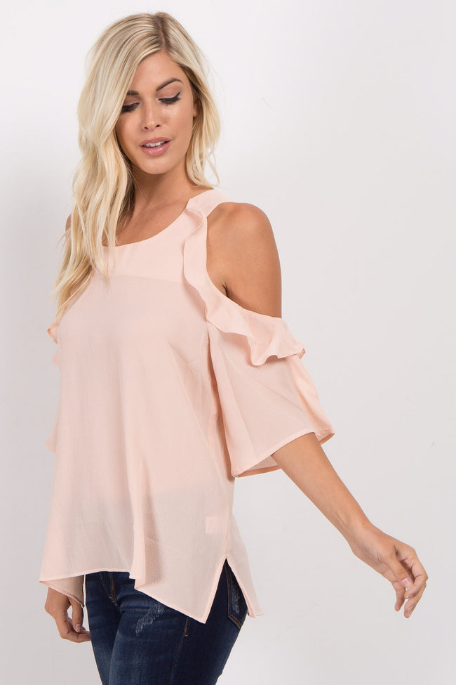 Beige Cold Shoulder Ruffled Sleeve Top