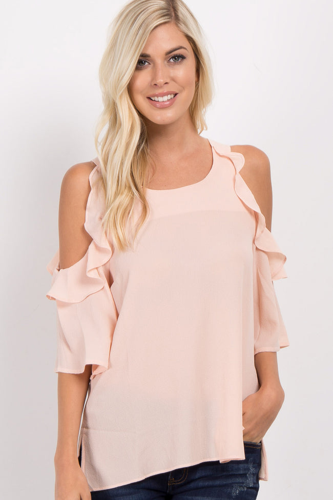 Beige Cold Shoulder Ruffled Sleeve Maternity Top