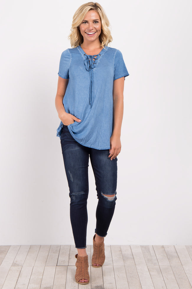 Blue Lace Up Top
