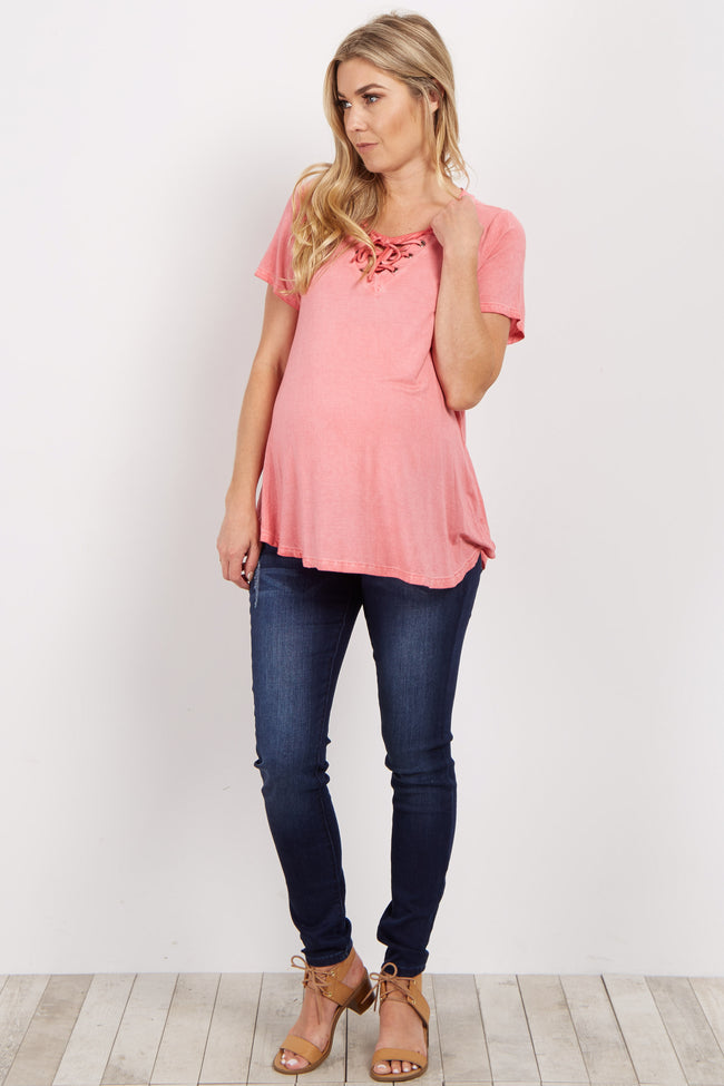 Pink Lace Up Maternity Top