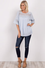 Light Blue Crochet Accent Blouse