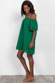 Green Off Shoulder Scalloped Trim Dress