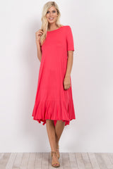 Coral Hi-Low Flounce Hem Midi Dress