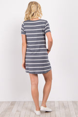 Grey Striped Short Sleeve Shift Dress
