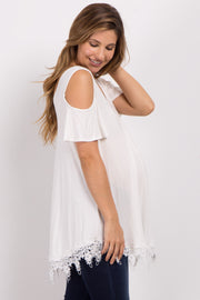 Ivory Cold Shoulder Crochet Trim Maternity Top