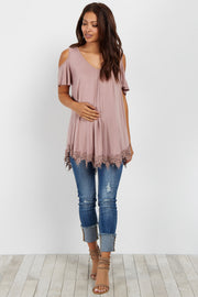 Mauve Cold Shoulder Crochet Trim Maternity Top
