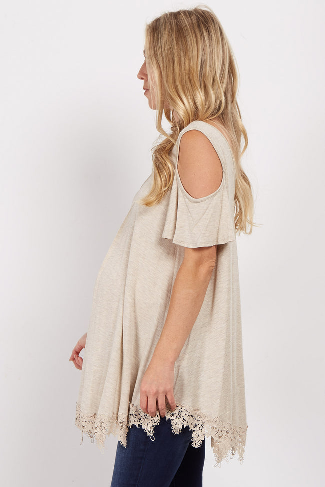Beige Cold Shoulder Crochet Trim Maternity Top