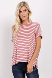 Mauve Striped Dolman Sleeve Top