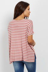 Mauve Striped Dolman Sleeve Maternity Top