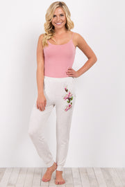 Heather Grey Embroidered Lounge Pants