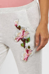 Heather Grey Embroidered Maternity Lounge Pants