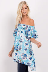 Aqua Floral Off Shoulder Hi-Low Top