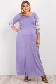 Lavender Crochet Sleeve Plus Maternity Maxi Dress