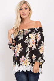 Black Floral Off Shoulder Chiffon Top