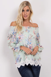 Mint Green Floral Off Shoulder Chiffon Top