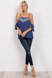 Navy Blue Embroidered Cold Shoulder Top