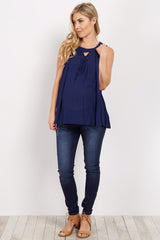 Navy Blue Lace-Up Sleeveless Maternity Top
