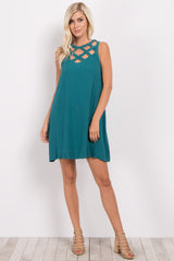 Green Sleeveless Cutout Neckline Dress