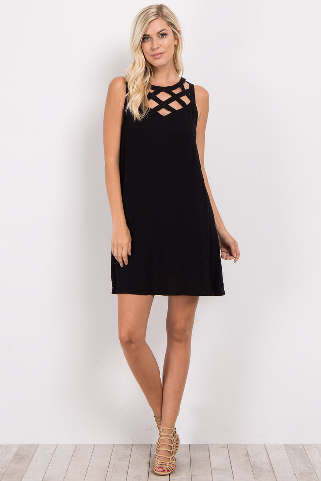 Black Sleeveless Cutout Neckline Dress