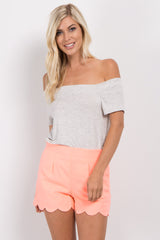 Coral Scalloped Hem Shorts