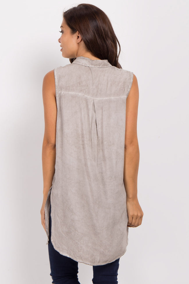 Grey Sleeveless Button Down Maternity Top