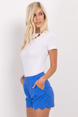 Royal Blue Polka Dot Scalloped Hem Shorts