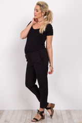 Black Slim Cropped Maternity Dress Pants