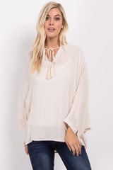 Cream Tassle Tie Dolman Sleeve Blouse