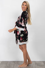 Black Rose Floral Lace Trim Delivery/Nursing Maternity Robe