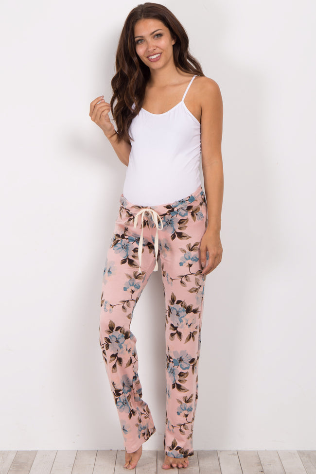 Pink Floral Print Maternity Pajama Bottoms