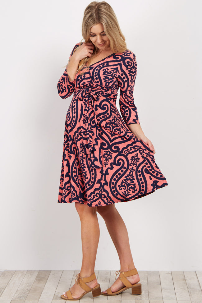 Coral Damask Print Sash Tie Maternity Wrap Dress