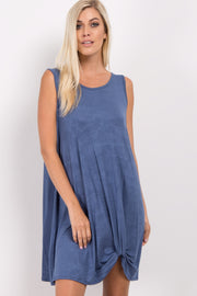 Blue Solid Sleeveless Knot Dress