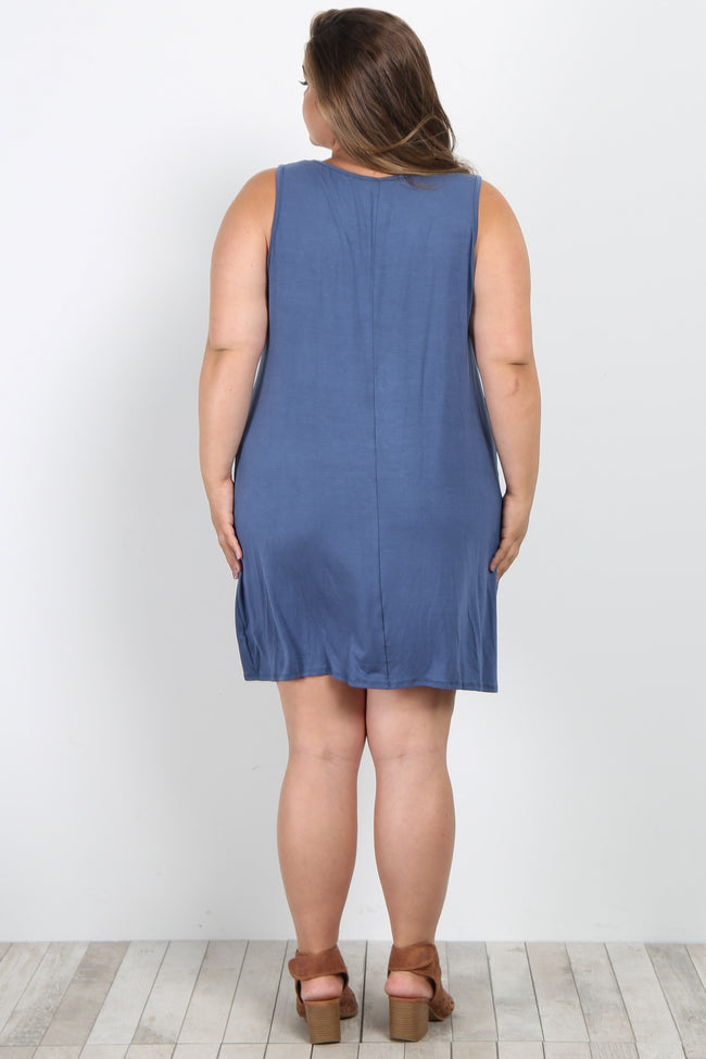 Blue Solid Sleeveless Plus Maternity Knot Dress