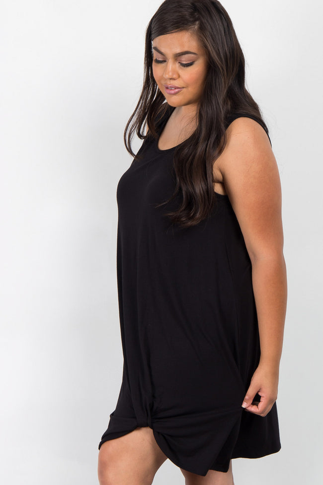 Black Solid Sleeveless Plus Knot Dress