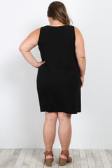 Black Solid Sleeveless Plus Maternity Knot Dress