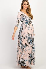 PinkBlush Pink Floral Maternity/Nursing Wrap Maxi Dress
