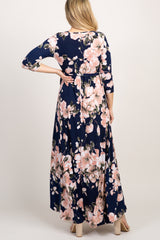 Navy Floral Maternity/Nursing Wrap Maxi Dress