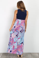 Multi-Color Printed Bottom Maternity Maxi Dress