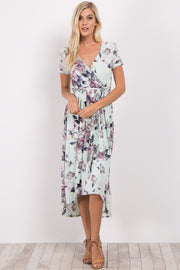 Mint Green Floral Hi-Low Wrap Dress
