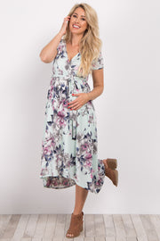 Mint Floral Hi-Low Maternity/Nursing Wrap Dress