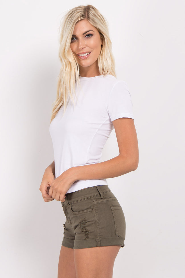 Olive Distressed Cuffed Jean Shorts