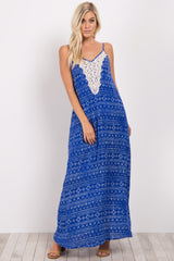 Blue Tribal Print Crochet Front Maxi Dress
