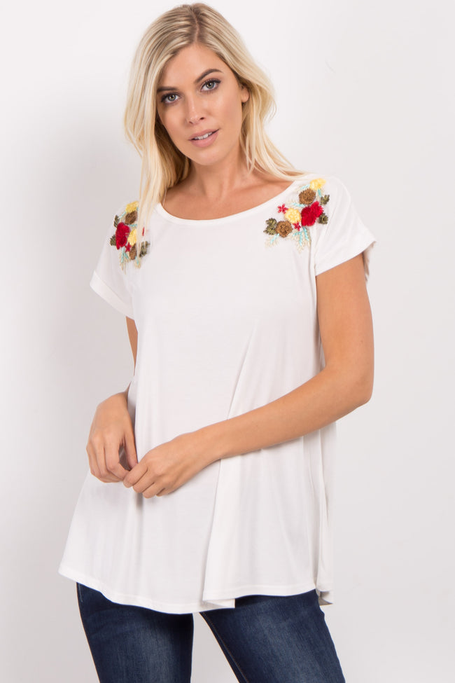 White Embroidered Short Sleeve Maternity Top