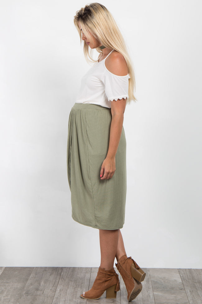 Olive Ribbed Wrap Maternity Skirt