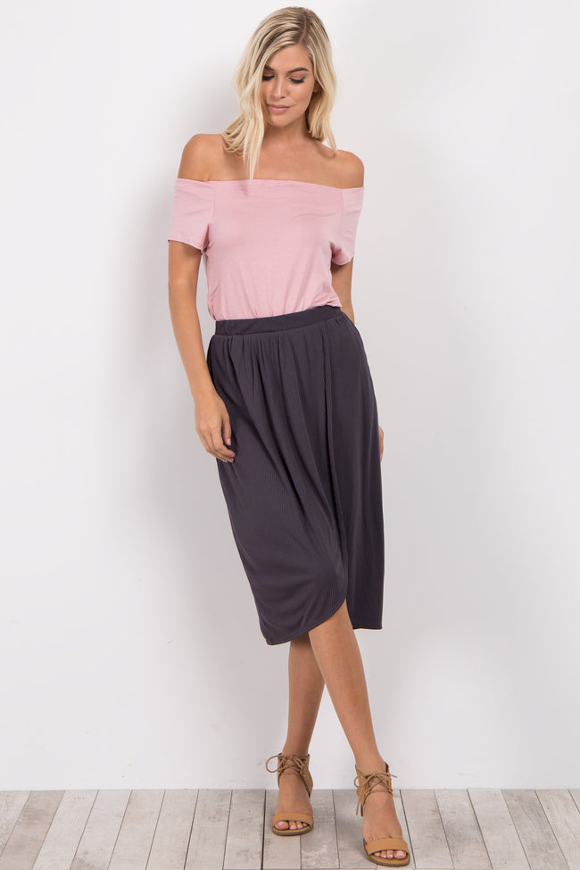 Charcoal Grey Ribbed Wrap Maternity Skirt