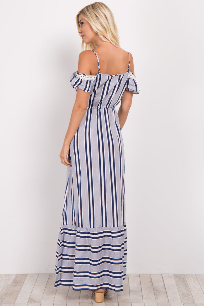 Navy Alternating Striped Maxi Dress