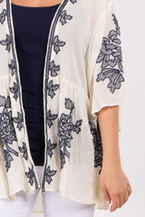 Navy Blue Embroidered Accent Kimono