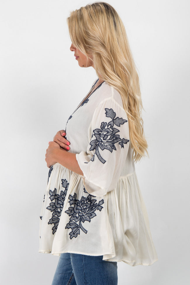 Navy Blue Embroidered Accent Maternity Kimono