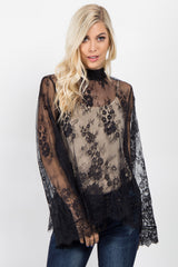 Black Sheer Lace Scalloped Trim Top